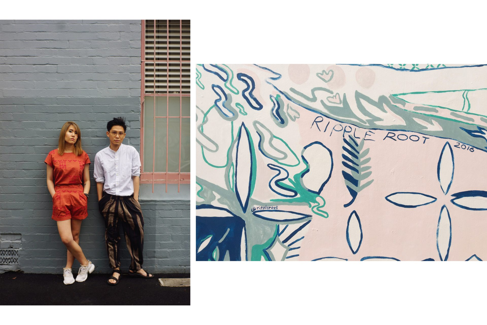 Fieldtested Estella Ng and Liquan Liew in front of a Ripple Root Mural