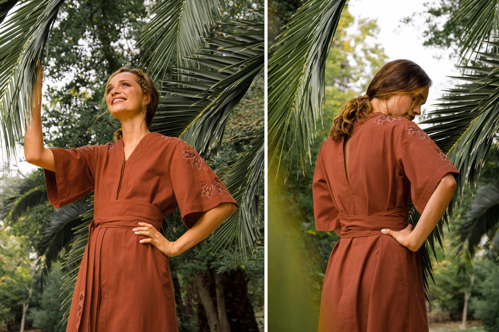The Slit-Back Maxi Mayura Rust worn in Portugal